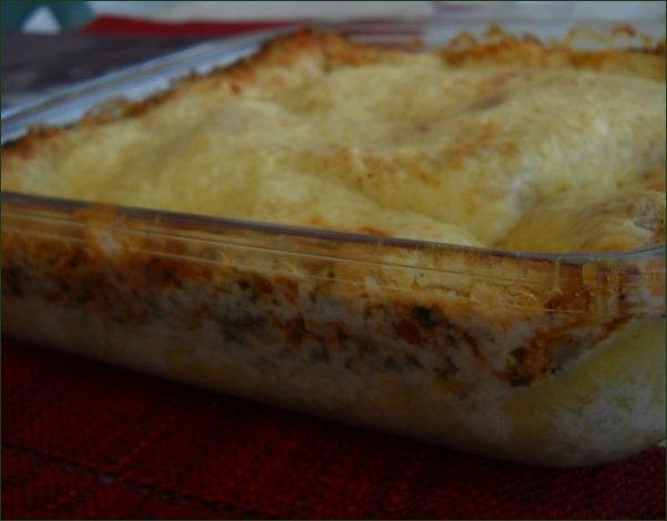 lasagnes aux protéines de soja texturées, tomates, épinards