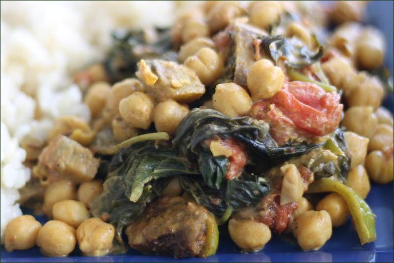 Pois chiches aux aubergines et aux épinards à l\u0027indienne , Palak baingan  aur channa
